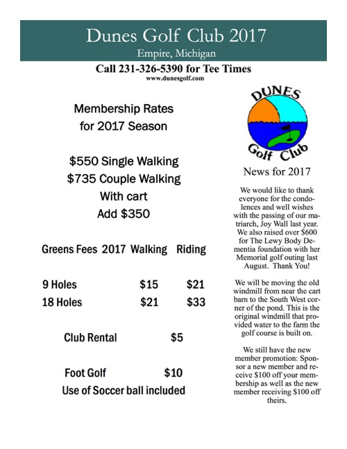 Dunes Golf Course Rates